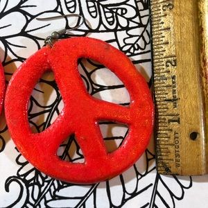 Vintage Jewelry - Vintage 80' neon peace sign earrings new wave